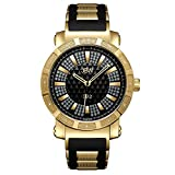 JBW Men's JB-6225-J 562 Pave Dial Diamond Gold Black Rubber Band Watch