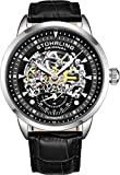 Stuhrling Original Mens Automatic Watch Skeleton Watches for Men - Black Leather Watch Strap...