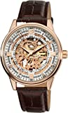 Akribos Automatic Skeleton Mechanical Men's Watch - 'Saturnos' Embossed Alligator Leather Pattern...