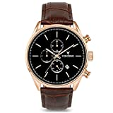 Vincero Luxury Men's Chrono S Wrist Watch — Rose Gold with Brown Leather Watch Band — 43mm...